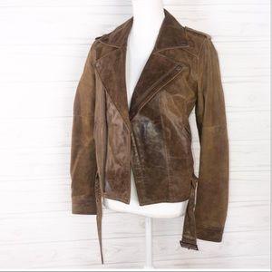 Newport News Sz 8 brown leather jacket